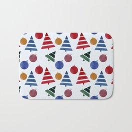 Watercolor Christmas Trees Pattern Bath Mat