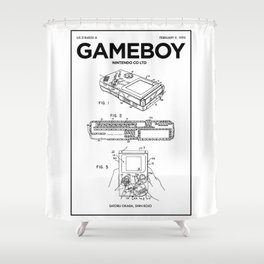 Gameboy Poster • Gamer Prints • Nintendo Patent Printable • Gift For Gamer • Games Gift • Boys Decor Shower Curtain