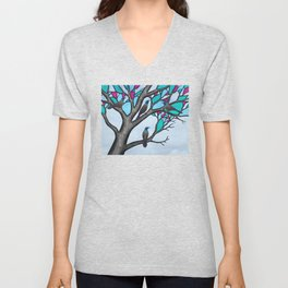 grackles in the stained glass tree Unisex V-Neck