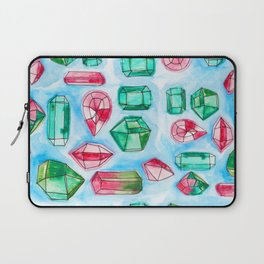 Red and Green Watercolor Gems Laptop Sleeve