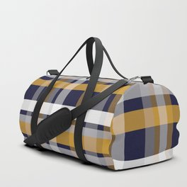 Modern Retro Plaid in Mustard Yellow, White, Navy Blue, and Grey Duffle Bag