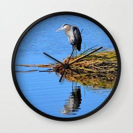 blue heron reflection Wall Clock
