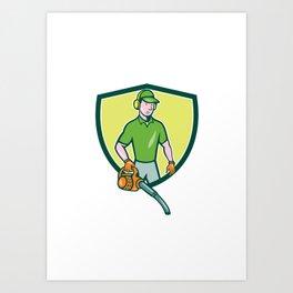 Gardener Landscaper Leaf Blower Crest Cartoon Art Print