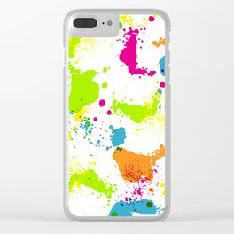 colorful paint blots Clear iPhone Case