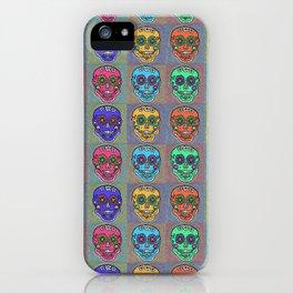 Dia De Los Muertos Mexican Sugar Skull Blue iPhone Case