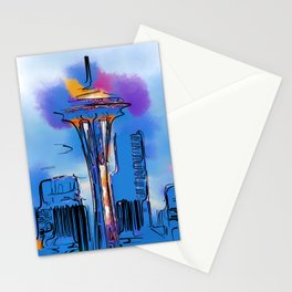 The Space Needle In Soft Abstract Stationery Cards