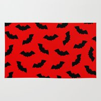 bats Area & Throw Rugs featuring Vampire Bats by The Wellington Boot