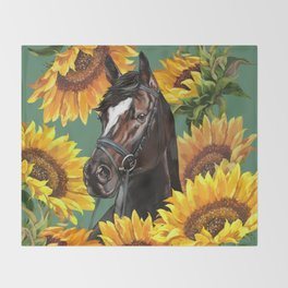 Horse with Sunflowers Throw Blanket