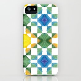 Circular Logic / water color geometric pattern / quilted look iPhone Case