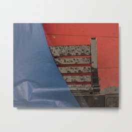 Gondola seat under the rain Venice red and blue Italy Metal Print