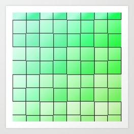 Green squares gradient pattern Art Print