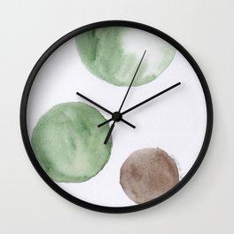 6 |181104 Australian Leaf Green & Brown Earth Orbs | Watercolour Circle Abstract Geometrical Wall Clock