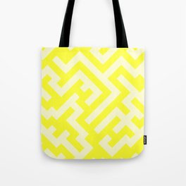 Cream Yellow and Electric Yellow Diagonal Labyrinth Tote Bag