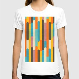Retro Color Block Popsicle Sticks Orange T-shirt