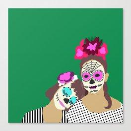 Sugar Skull Halloween Girls Green Canvas Print