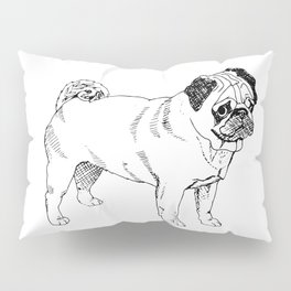 Pug Ink Drawing Pillow Sham