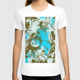 tropical silhouette with orchids and palms in sky blue T-shirt