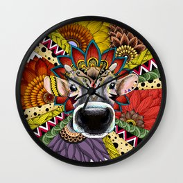 TRIBAL COW Wall Clock