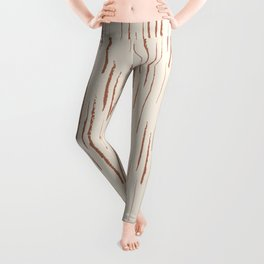 Cavern Clay SW 7701 Grunge Vertical Stripes on Creamy Off White SW7012 Leggings