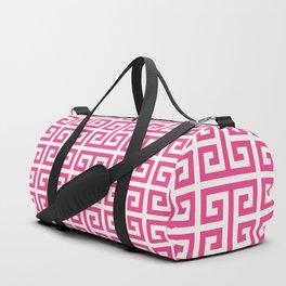 Large Pink and White Greek Key Pattern Duffle Bag