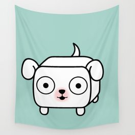 Pitbull Loaf - White Pit Bull with Floppy Ears Wall Tapestry