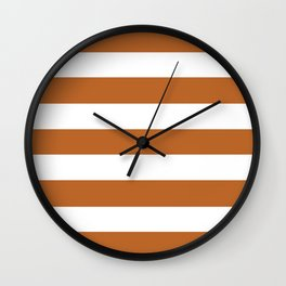 Ruddy brown - solid color - white stripes pattern Wall Clock