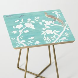 Chinoiserie Panels 3-4 White Scene on Teal Raw Silk - Casart Scenoiserie Collection Side Table