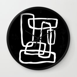 Abstract Interlocking Shapes No. 1 in Black and White Wall Clock