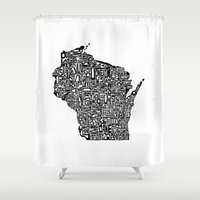 wisconsin Shower Curtains featuring Typographic Wisconsin by CAPow!