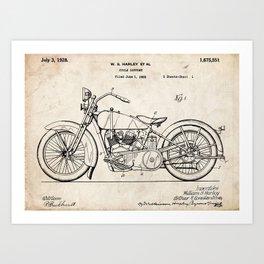 HARLEY DAVIDSON MOTORCYCLE 1928 PATENT ART PRINT POSTER HD VINTAGE V TWIN GIFT Art Print