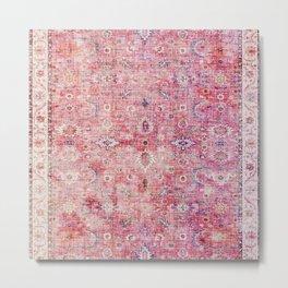 N45 - Pink Vintage Traditional Moroccan Boho & Farmhouse Style Artwork. Metal Print
