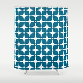 Mid Century Modern Star Pattern Peacock Blue 2 Shower Curtain
