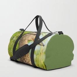 Wild Duck Portrait Nature Background #decor #society6 #buyart Duffle Bag