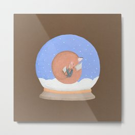 Sleeping Fox in A Snow Globe Metal Print