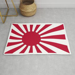 The rising sun Japemese flag in red and white Rug