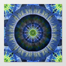 Mandala in Blue and Yellow Canvas Print