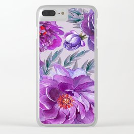 Violet and Purple Flowers Clear iPhone Case
