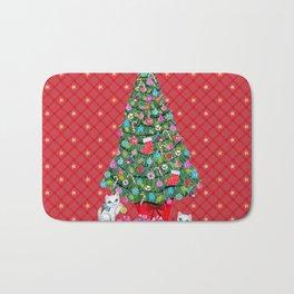 Christmas tree with cats / red tartan, plaid, kittens, holidays, christmas gift, Bath Mat