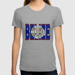 Belize Font with Belizean Flag T-shirt