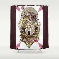 tarot Shower Curtains featuring Emperess Tarot by A Hymn To Humanity