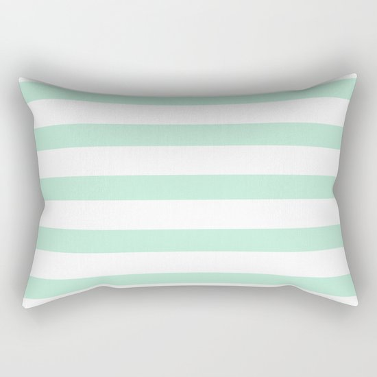 Maritime - Mint green and White stripes-horizontal Rectangular Pillow