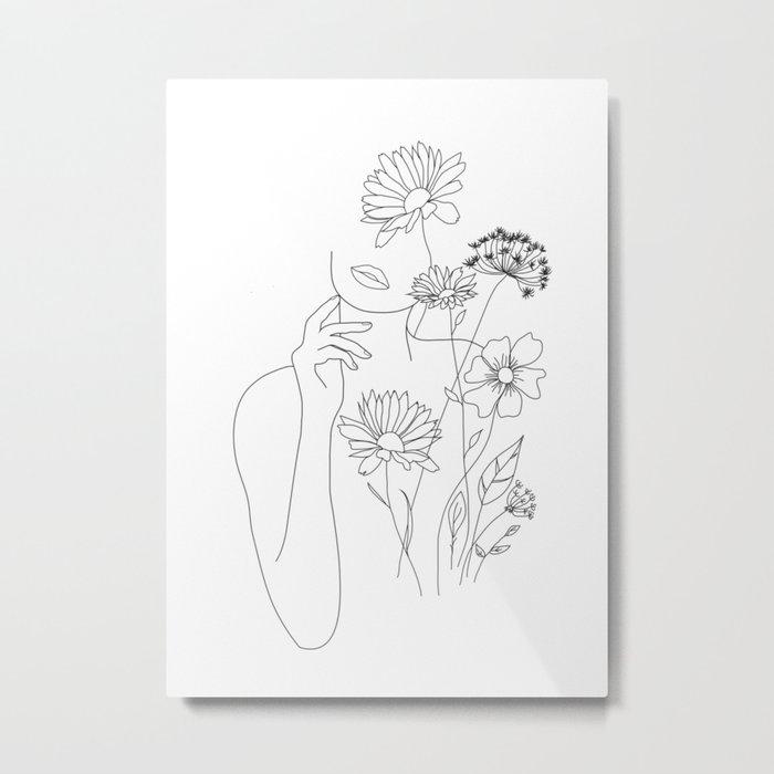 Minimal Line Art Woman with Flowers III Metal Print