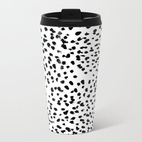 Nadia - Black and White, Animal Print, Dalmatian Spot, Spots, Dots, BW Metal Travel Mug