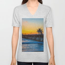 San Clemente Pier California United States Ultra HD Unisex V-Neck