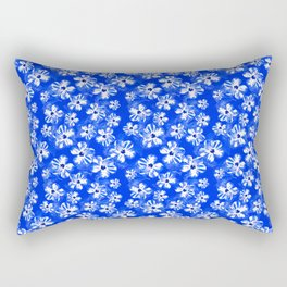 Blue Tropical Flower Pattern Rectangular Pillow