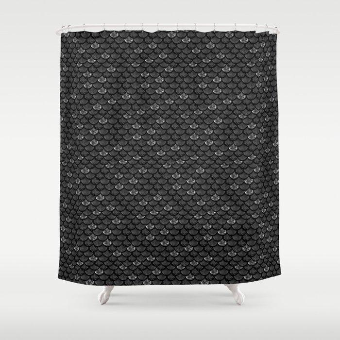 Glitter Fish Dark Scales Shower Curtain by taradeangelis