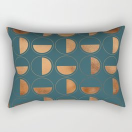 Copper Circles Art Deco on Emerald Rectangular Pillow