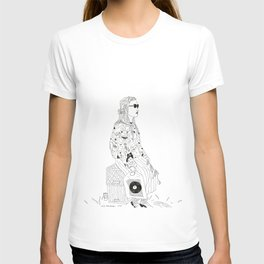 girl with record plastic bag T-shirt