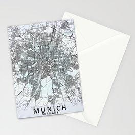 Munich, Germany, White, City, Map Stationery Cards