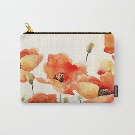 Poppy Flower Meadow- Floral Summer lllustration Carry-All Pouch